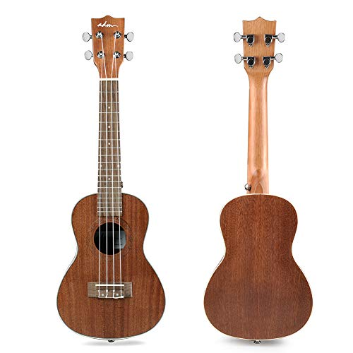 ADM Concert Ukulele 23 Inch Adult Beginner Uke Kit, Small Guitar Bundle with Gig Bag, Finger Sand Hammer Bell and Strap