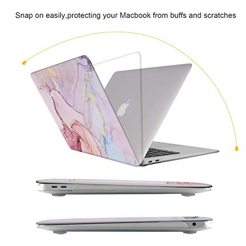 iCasso MacBook Air 13 Zoll Hülle 2020 2019 2018 Release A2337 M1/A1932/A2179 mit Retina Display Touch ID, Durable Hard Plastic Shell Case and Keyboard Cover Compatible MacBook Air 13 - Glitter Marble