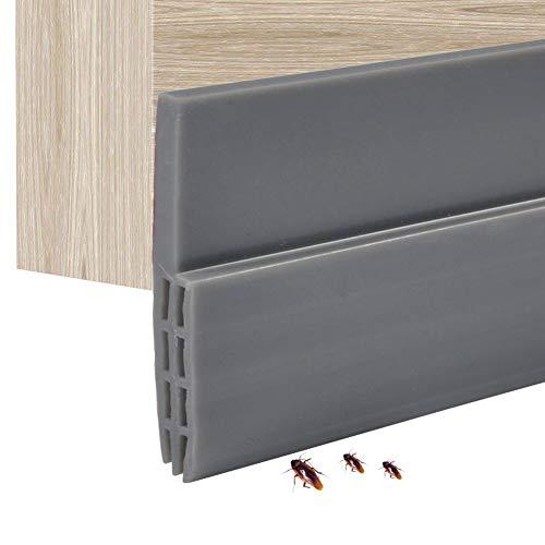 Silkon-Türdichtung, selbstklebend, wetterfest, Aufkleber für Lücken in Türen und Fenster, Unterseite, 100cm, grau