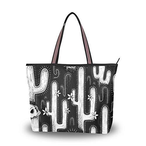 Ahomy Damen Strandtasche, Schwarz und Weiß, Kaktus-Totenkopf, große Schulter-Handtasche für Damen, Mehrfarbig - multi - Größe: M