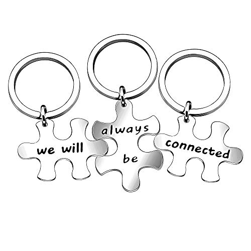 lauhonmin 3pcs Best Friends Brothers Sisters Gifts Key Chain Set Friendship Long Distance Gifts - We Will Always be Connected Keychain