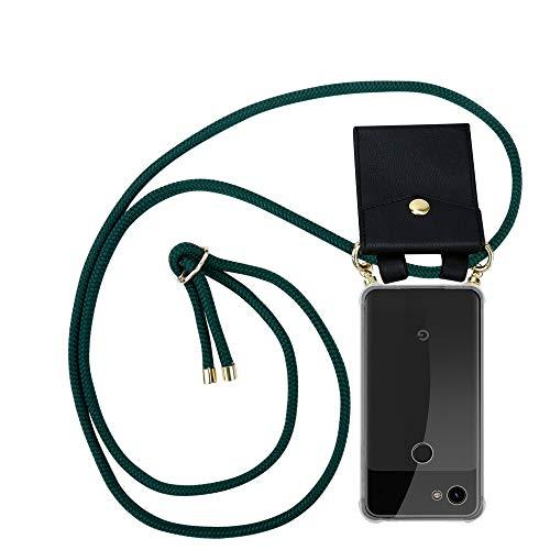 Cadorabo Handy Kette für Google Pixel 3a in Armee GRÜN - Silikon Necklace Umhänge Hülle mit Gold Ringen, Kordel Band Schnur und abnehmbarem Etui – Schutzhülle