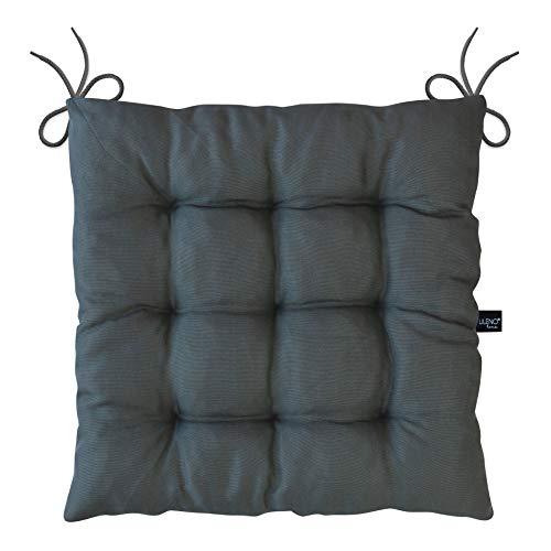 LILENO HOME 2er Set Stuhlkissen Anthrazit (40x40x6 cm) - Sitzkissen für Gartenstuhl, Esszimmerstuhl oder Küche - Bequeme UV-beständige Indoor u. Outdoor Stuhlauflage als Stuhl Kissen