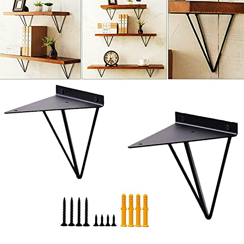 Soportes de estante triángulo para horquillas, soportes geométricos de metal prisma de mediados de siglo, soporte de pared de hierro grueso negro moderno para montaje en pared de 2 unidades