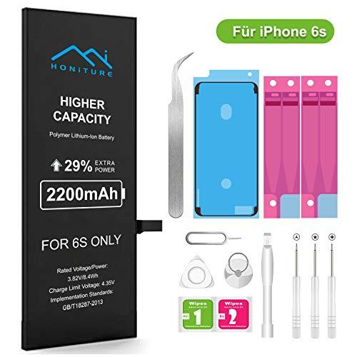 HONITURE Kompatibel mit iPhone 6s Akku 2200 mAh, Ersatzakku hohe Kapazität mit 29% mehr iPhone Batterie mit Werkzeugset und Reparaturset Akku-Austausch Anleitung