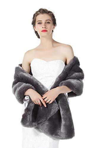 BEAUTELICATE Scialle Stola Donna Pelliccia Scialli Sciarpa Coprispalle Elegante per Matrimonio Invernale Cerimonia Sposa Damigella Pelliccia Artificiale