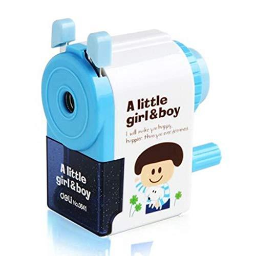 FEIYI Sacapuntas a la moda de dibujos animados de pintura de mano inversa sacapuntas para estudiantes de examen, herramientas de regalo para niños (color: azul)