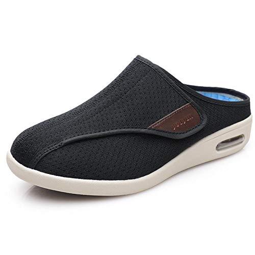 XRDSHY Zapatos para Artritis Edema Zapatillas para Diabéticos Ajustables Extra Anchas Plantilla Desmontable,Black-EU37/235mm
