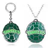 Llavero de tortugas ninja mutantes adolescentes collar con forma de concha de tortuga verde en forma de goteo llavero de anime llavero para pareja regalo 2 piezas