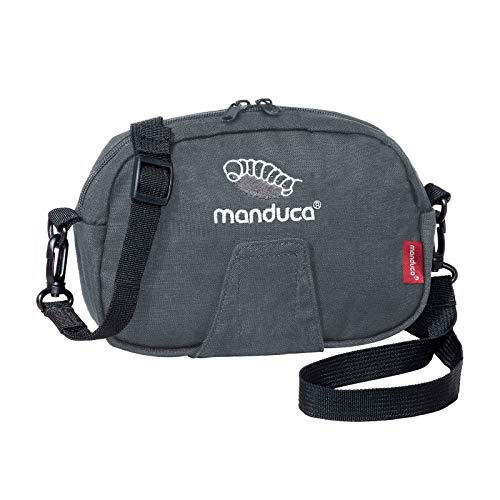 manduca Pouch > HempCotton Grey < Gürteltasche, Hüftgurt-Tasche & Bauchtasche, Befestigung mit Klett an Gürtel oder Babytrage, mit Trageriemen für Bauch - und Umhängetasche, Canvas, grau