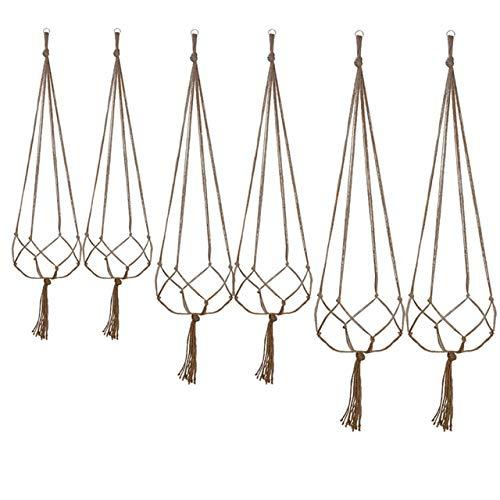 Copeflap プラントハンガー 観葉植物 吊り下げ プラント ハンガー プランターハンガー 吊り鉢 マクラメ 6本セット