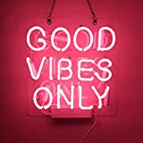 Neon Signs Good Vibes Only Pink Neon Lamp Living Spaces Restaurant Handmade Real Glass Tube Neon Lights Sign Neon Words for Home Bedroom Room Bar Beer for Party Holiday Wedding Decoration Sign