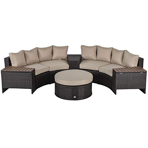 Outsunny 8 Pieces Outdoor PE Rattan Patio Sofa Set Half Round Conversation Furniture Set w/One Umbrella and Two Stroage Functional Side Table & Cushioned Beige
