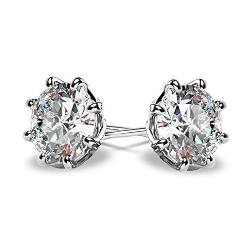 MXHJD Pendientes de botón solitario para mujer, circonita redonda brillante, pendientes de boda nupciales versátiles simples, joyería clásica