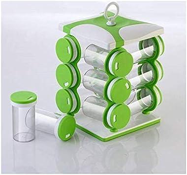 Fiocco Revolving Spice Racks for Kitchen 12 in 1 (Green)