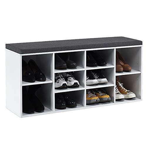 COSTWAY Schuhbank mit Sitzfläche, Schuhregal Holz, Schuhkommode Schuhablage Schuhschrank, Sitzbank mit Regal, mit Sitzkissen, Farbewahl (Weiß)