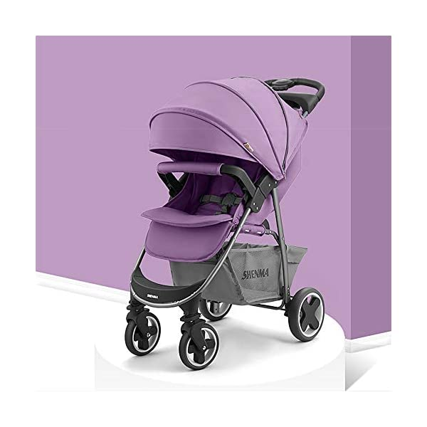 JINGQI Foldable Stroller Can Sit on A Reclining Baby Portable Shock-Absorbing Stroller, One-Click Folding/Visible Sunroof, Suitable for Babies From 0 To 3 Years Old,Purple JINGQI ✔Multi-level adjustment of windproof and sunscreen canopy, adjustable to use according to different weather, can sit and lie down, three-level adjustment 105°/135°/170°, keep 170° flat to effectively protect the normal development of neck and spine implants, and use more Convenience ✔Comfortable non-slip push handle, sweat-absorbent and non-slip, comfortable hand feeling, more peace of mind; safety lock, fixed frame to prevent loosening; large-capacity storage basket, foldable footrest, more space ✔The five-point seat belt prevents the baby from sliding down and effectively protects the baby's safety. The four-wheel brake is safer and more stable 1