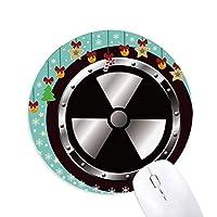 ロゴ黒い背景放射性物質警告 圆形防滑橡胶圣诞铃铛鼠标垫