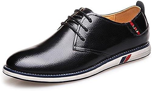 JIALUN-Schuhe Klassische einfache Herrenschuhe aus echtem Rindsleder mit Schnürung und flachem Sohle für Herren (Farbe   Schwarz Größe   6.5 MUS)