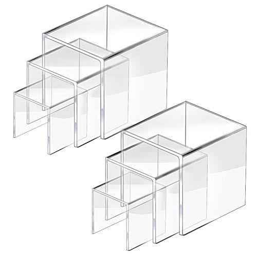 CECOLIC Clear Acryl Riser Display Stand, Acryl Display Riser Stand Regal für Funko Pop Figuren, Amiibo, Schmuck, Süßigkeiten, Cupcake, Dessert, 2 Sets - 3x4x5in