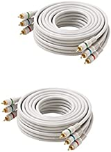 C&E CNE427916 50-Feet 3-RCA Component Video Cable, Ivory, 2-Pack