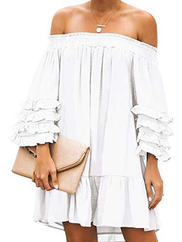 ZANZEA Mujer Vestido de Fiesta Corto Sexy Sin Hombros Verano Vestido Playa Elegante Mangas Largas Vestido Casual 03-Blanco XXL