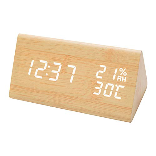 GreenCC LED Digitaler Wecker, Dreieck Holz Wecker, Reisewecker Alarm Clock mit Sound-Kontrolle, 3 Alarm Einstellung, 3 Helligkeit, Datum, 12/24HR, Temperatur Feuchtigkeit, USB und Batteriebetrieben