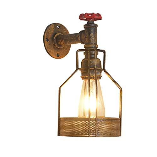 SXYRN Lámpara de Pared Vintage Jaula de Metal Industrial Conector E27 Lámpara de Pasillo para Corredor, Dormitorio, Escalera Lámpara de Pared de Hierro No Incluye Bombilla,Section b