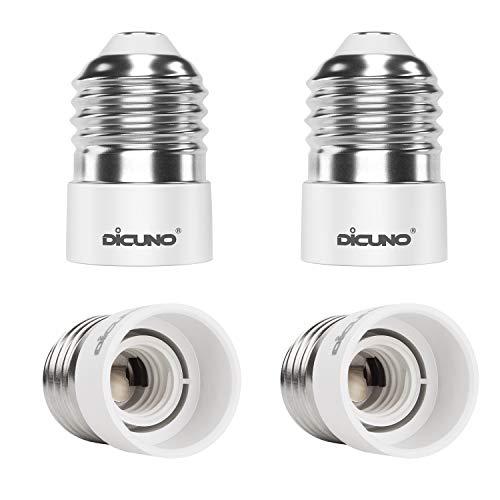 DiCUNO 4 Stycken E27 till E14 adapter omvandlare, Högkvalitativ lamphållare, Hög temperaturbeständig lampbas för LED-lampor, Glödlampor och CFL-lampor