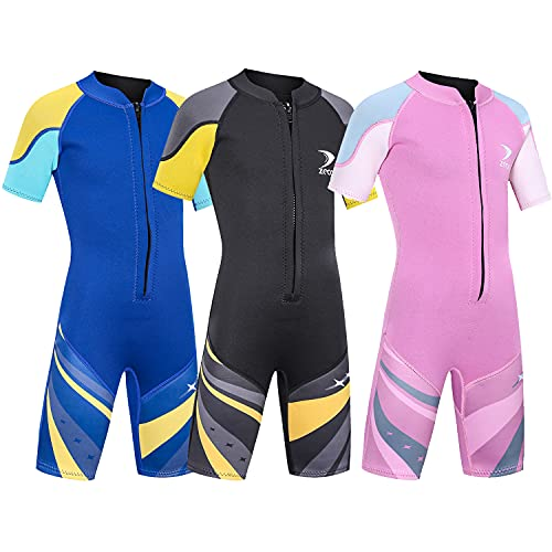 ZCCO Kids Neoprenanzug Neopren Thermal Badeanzug, Jugend Jungen Mädchen One Piece Wet Suits,Schwarz L
