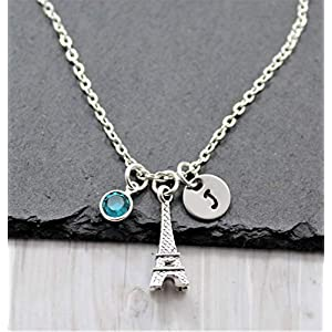 Eiffel Tower Necklace – Personalized Birthstone & Initial – Eiffel Tower Jewelry
