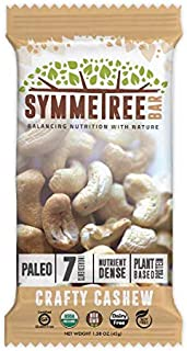 SYMMETREE Nut Bars - 100% Organic, Dairy, Gluten, and Soy Free - Paleo Friendly, Plant Based, Refrigerated Bar, Stone Ground Nut Butter with Only 7 Raw Ingredients | Crafty Cashew | 8 Pack