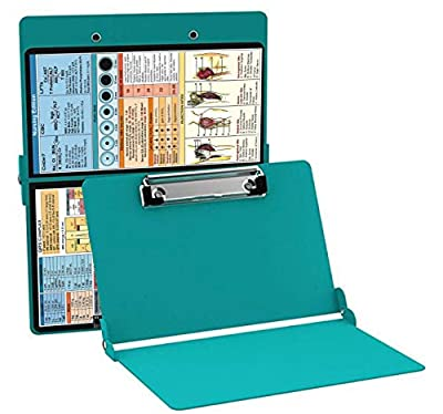 Nurse Clipboard, Foldable Aluminum Construction Nurse Clipboard Fit in Your Pocket with The Quick references are Suitable for Nurses, Doctors and Students (Teal)