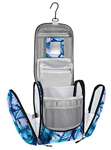 Großer Kosmetikkoffer mit Spiegel, sehr geräumiger Kosmetik Koffer als Geschenk oder perfekt für den Urlaub, Beauty Case (Muster Blätter)