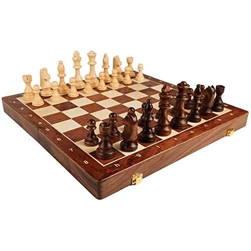 LMDH Juego de Juegos de ajedrez, Juegos de Mesa Chess Walnut Solid Wood Traje de Gama Alta de Madera para niños Juego de ajedrez Plegable de Madera Dedicado (Size : 45 * 45 * 3.5CM)