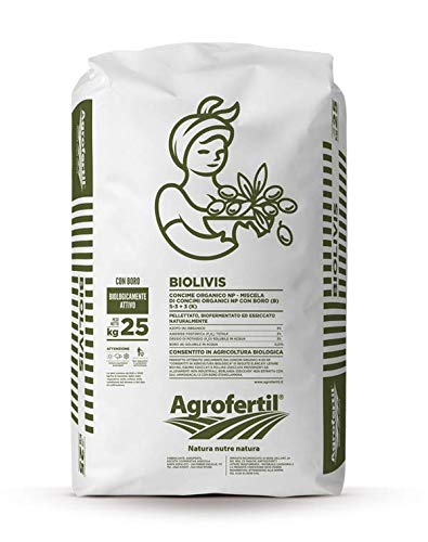 Agrofertil Concime Organico con Boro BIOLIVIS per Olivo 25KG Biologico