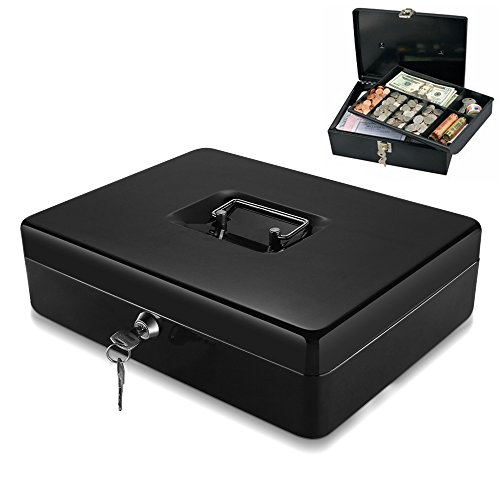 Flexzion Cash Box with Money Tray, 2 Keys, Security Lock Box with Removable 9 Compartment Tray Steel Construction Cashier Drawer Money Safe Storage for Currency Bill Check Jewelry, Small Portable