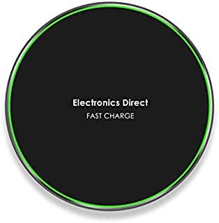 Electronics Direct Qi-Certified Ultra Slim Fast Wireless Phone Charger Compatible with iPhone Xs MAX/XR/XS/X/8/8+, 10W: Galaxy S10/S10+/S10E/S9, 5W: All Qi-Enabled Phones(No AC or Qi Adapter Included)