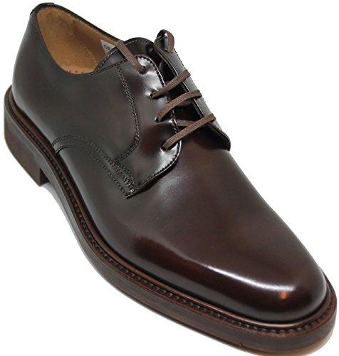 3541. Zapato de Cordones Pala Lisa, Totalmente Hecho a Mano en Inca Mallorca, Piel de Becerro de Primera Calidad, Color marrón (10.5)