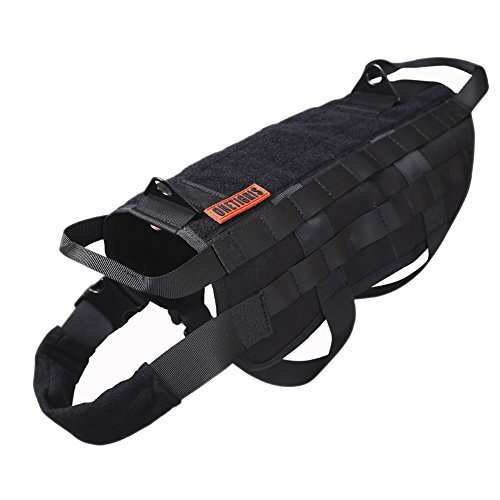 OneTigris Tactical Dog Training Vest Harness with Mesh Padding and Two Handles (Black, M / 41cm)