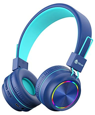 iClever BTH03 Kids Headphones, Colorful LED Lights Kids Bluetooth Headphones with MIC, 25H Playtime, Stereo Sound, Bluetooth 5.0, Foldable, Childrens Headphones on Ear for Study Tablet Airplane, Blue