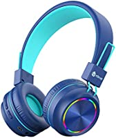iClever BTH03 Kids Wireless Headphones, Colorful LED Lights Kids Headphones with MIC, 25H Playtime, Stereo Sound,...