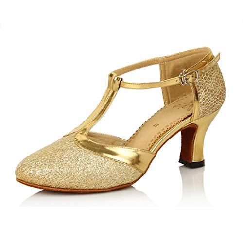 Latin Tanzschuhe, Tanzschuhe, Damen, Soft Bottom Tanzschuhe, Square Dance Schuhe, Tanzschuhe (Farbe : Gold, größe : 41 EU)