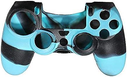 SODIAL (R) kamuflaj koruyucu silikon Case Skin Cover for PS4Controller Camo mod Hot-BLUE Siyah