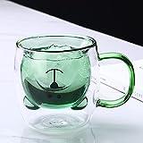 Taza de cristal creativa linda taza de café de oso doble taza de cristal animal de doble capa de jugo de leche Tazas de té de señora día de San Valentín regalo de Navidad taza de cristal (color verde