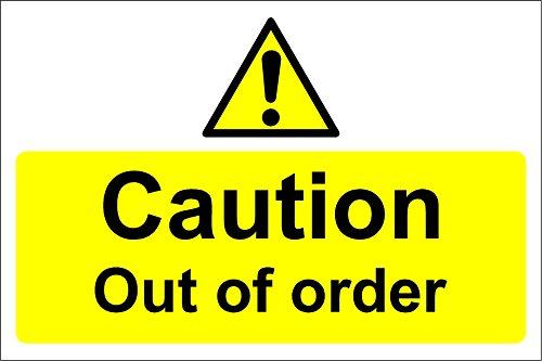 Vorsicht Out Of Order Schild–Selbstklebendes Vinyl 300mm x 200mm x 200mm