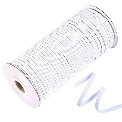EKEV White 120-Yards × 1/8' Width Braided Elastic Cord - Elastic Band Bungee Rope Heavy Stretch Knit Elastic Spool for DIY Crafts, Masks and Cuff