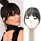 Clip in Bangs Human Hair Air Neat Bangs Natural Remy Bangs With Temples Soft Fringe Bangs Extensions For Women/Girls,Jet Black Color