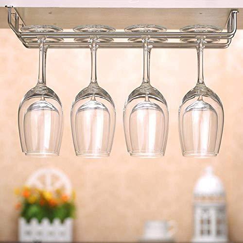 AERVEAL Soporte de Vidrio de Acero Inoxidable de 3 Filas, Estante de Vino, Barra de Cocina Colgada de Pared, Soporte de Vidrio de Champán para Almacenamiento