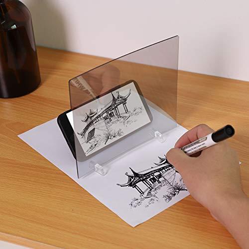 Kafuty Tampone da Disegno Fai da Te per proiezione Ottica, Tavoletta Pittura Projector Reflection Copy Drawing Learning Tool Tracing Board per cellulari telefoni Tablet